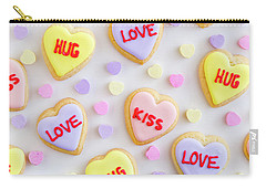 Carry-all Pouch featuring the photograph Conversation Heart Cookie Love by Teri Virbickis