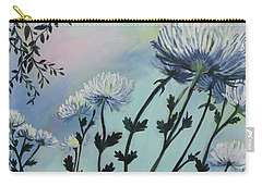 Cool White Spider Mums Carry-all Pouch