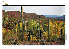 Coon Creek With Saguaros And Cottonwood, Ash, Sycamore Trees With Fall Colors Carry-all Pouch