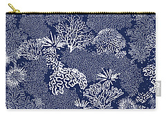 Coral Garden Indigo And White Carry-all Pouch