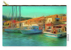Carry-all Pouch featuring the photograph Corfu 14 - Panorama Of Lakka On Paxos by Leigh Kemp