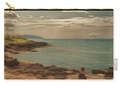Carry-all Pouch featuring the photograph Corfu 15  - My Lady On The Rocks by Leigh Kemp