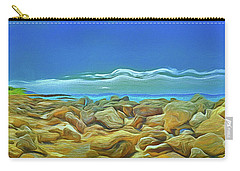 Carry-all Pouch featuring the photograph Corfu 3 - Surreal Rocks by Leigh Kemp