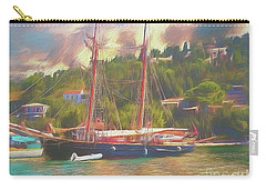 Carry-all Pouch featuring the photograph Corfu 35 Tall Ship In Paxos by Leigh Kemp