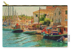 Carry-all Pouch featuring the photograph Corfu 39 - Boats Paxos by Leigh Kemp