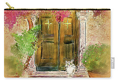 Carry-all Pouch featuring the digital art Corfu Kitty by Lois Bryan