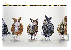 Corgi Butt Lineup With Chihuahua Carry-all Pouch by Patricia Lintner