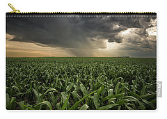 Carry-all Pouch featuring the photograph Corn And Lightning by Aaron J Groen