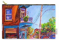 Carry-all Pouch featuring the painting Corner Deli Lunch Counter by Carole Spandau