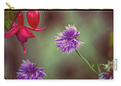 Cornflowers And Fuschia Carry-all Pouch by Bonnie Bruno