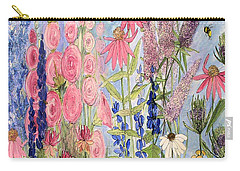 Cottage Flowers With Dragonfly Carry-all Pouch by Laurie Rohner