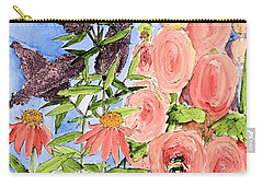 Carry-all Pouch featuring the painting Cottage Garden Hollyhock Bees Blue Skie by Laurie Rohner