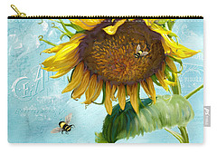 Cottage Garden Sunflower - Everlastings Seeds N Flowers Carry-all Pouch by Audrey Jeanne Roberts