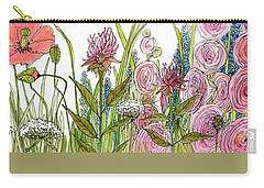 Carry-all Pouch featuring the painting Cottage Hollyhock Garden by Laurie Rohner