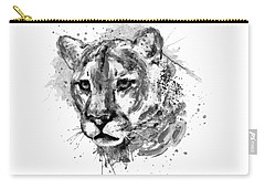 Carry-all Pouch featuring the mixed media Cougar Head Black And White by Marian Voicu