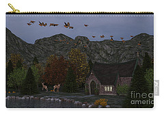 Country Church Autumn At Twilight Carry-all Pouch by Methune Hively