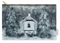Carry-all Pouch featuring the digital art Country Church On A Snowy Night by Lois Bryan