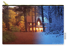 Country House Between Fall And Winter Seasons Artistic Concept Carry-all Pouch