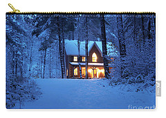 Country House With Lights On Snowy Winter Evening Ontario Canada Carry-all Pouch