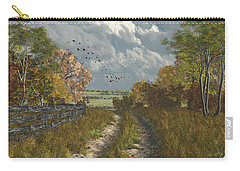 Carry-all Pouch featuring the digital art Country Lane In Fall by Jayne Wilson
