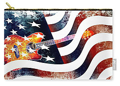 Country Music Guitar And American Flag Carry-all Pouch