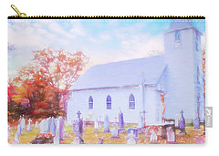 Country White Church And Old Cemetery. Carry-all Pouch