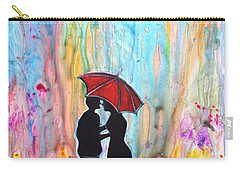 Couple On A Rainy Date Romantic Painting For Valentine Carry-all Pouch