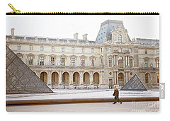 Carry-all Pouch featuring the photograph Couple Strolling At Louvre Museum  by Ivy Ho