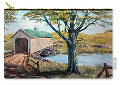 Covered Bridge, Americana, Folk Art Carry-all Pouch