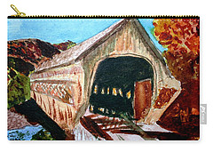Carry-all Pouch featuring the painting Covered Bridge Woodstock Vt by Donna Walsh