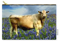 Cow And Bluebonnets Carry-all Pouch by Barbara Tristan