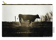 Carry-all Pouch featuring the photograph Cow - Black And White - Profile by Janine Riley