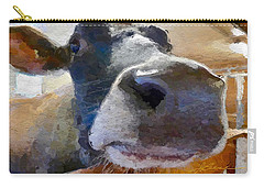 Carry-all Pouch featuring the painting Cow Face Close Up by Joan Reese