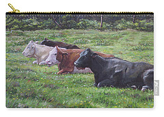 Carry-all Pouch featuring the painting Cow Line Up In Field by Martin Davey