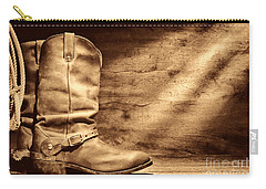 Cowboy Boots On Wood Floor Carry-all Pouch