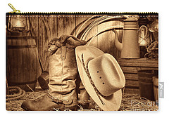 Cowboy Gear In Barn Carry-all Pouch