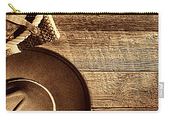 Cowboy Hat And Gear On Wood Carry-all Pouch