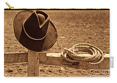 Cowboy Hat And Rope On A Fence Carry-all Pouch