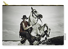 Cowboy On The Rear Up Horse In The River Carry-all Pouch