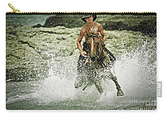 Cowboy Riding Horse Across The River Carry-all Pouch