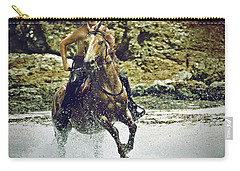 Cowboy Riding In The Sea Carry-all Pouch