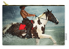 Cowboy Riding Paint Horse In The Water Carry-all Pouch
