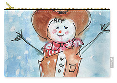 Cowboy Snowman Watercolor Painting By Kmcelwaine Carry-all Pouch