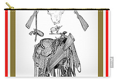 Carry-all Pouch featuring the drawing Cowboy Tribute by Jack Pumphrey