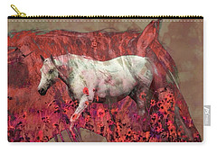 Cowgirl And Her Horses Carry-all Pouch by Toma Caul