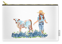 Cowgirl Calf In The Bluebonnets Pe005 Carry-all Pouch