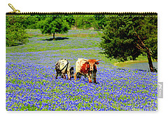 Cows In Texas Bluebonnets Carry-all Pouch