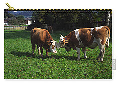 Carry-all Pouch featuring the photograph Cows Nuzzling by Sally Weigand