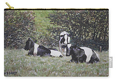 Carry-all Pouch featuring the painting Cows Sitting By Hill Relaxing by Martin Davey