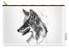 Carry-all Pouch featuring the mixed media Coyote Head Black And White by Marian Voicu